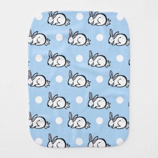 Cute Bunny Rabbit; Baby Blue & White Polka Dots Baby Burp Cloths