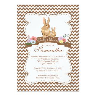 "Cute Bunny Rabbit Baby Shower Invitations 5"" X 7"" Invitation Card"