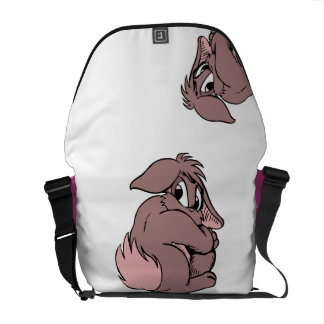 Cute Bunny | Rabbit Cartoon Shy in Pink Messenger Bag