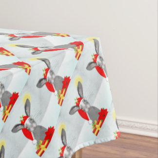 Cute Bunny Rabbit Christmas Holiday Design Tablecloth
