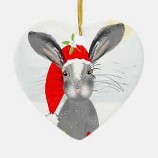 Cute Bunny Rabbit Christmas Holiday Theme Christmas Ornament