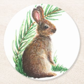 Cute bunny rabbit impressionist art coaster