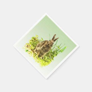 Cute Bunny Rabbit in Green Grass Paper Napkin