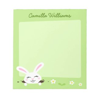 Cute bunny rabbit looking out personalized name notepad