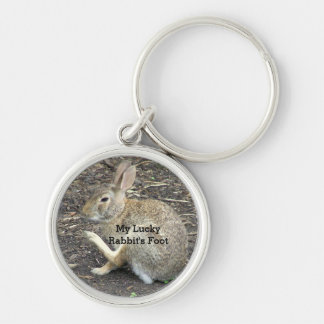 """CUTE BUNNY RABBIT, ""MY LUCKY RABBIT'S FOOT"" Silver-Colored ROUND KEY RING"
