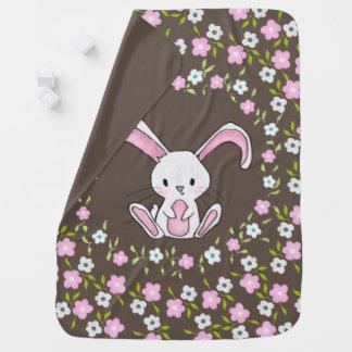 Cute Bunny Rabbit Pink White Flowers Baby Blanket