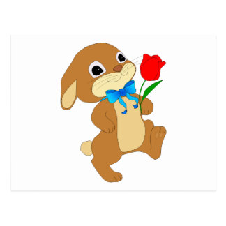 Cute Bunny Rabbit with Bow Tie Walking w/ Red Rose Postcard