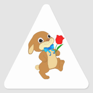 Cute Bunny Rabbit with Bow Tie Walking w/ Red Rose Triangle Sticker