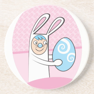 Cute bunny rabbit with Easter egg Drink Coaster