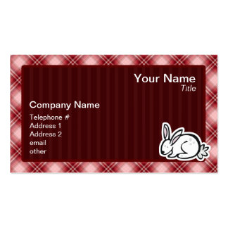 Cute Bunny Red Plaid Business Card Template