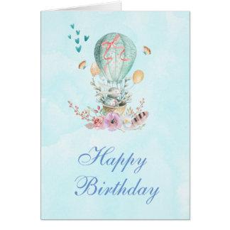 Cute Bunny Riding in a Hot-Air Balloon Birthday Card