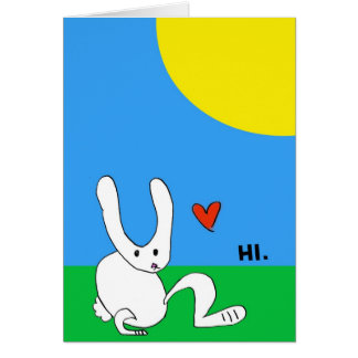Cute Bunny Says HI. Card