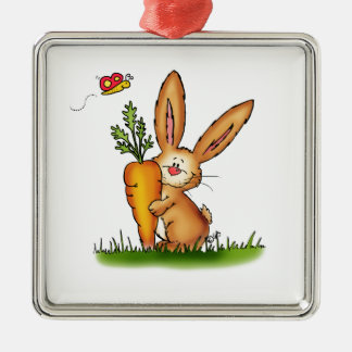 Cute Bunny with Carrot by Gerda Steiner/Send2smile Silver-Colored Square Decoration