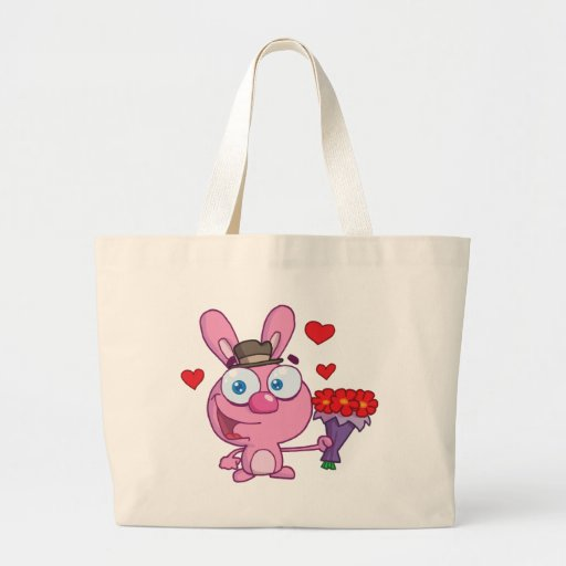 Cute Bunny With Flowers Canvas Bags