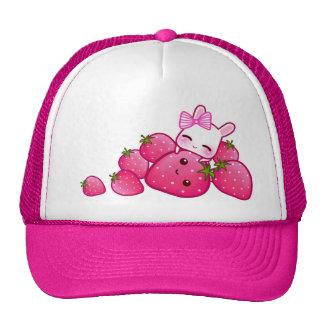 Cute bunny with kawaii strawberries trucker hats
