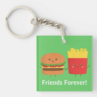 Cute Burger and Fries, Friends Forever Double-Sided Square Acrylic Key Ring
