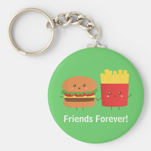 Cute Burger and Fries, Friends Forever Key Chains
