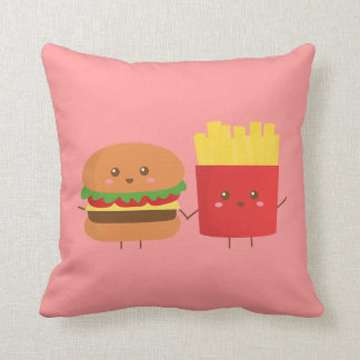Cute Burger and Fries, Friends Forever Throw Pillow
