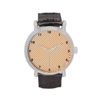 Cute Burnt Orange and White Diagonal Stripes Wrist Watch