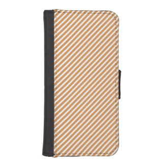 Cute Burnt Orange and White Diagonal Stripes Phone Wallet Case