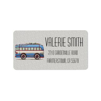 Cute Bus Tour Bus Address Label