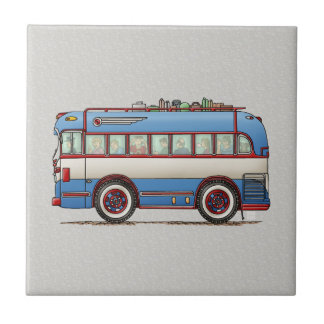 Cute Bus Tour Bus Small Square Tile