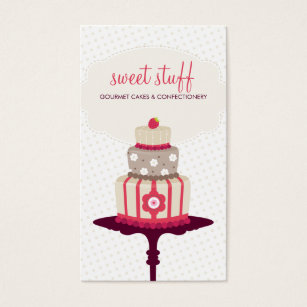 Cake decorating business cards business card printing zazzle uk cute business card sweet cake bakery red gold colourmoves