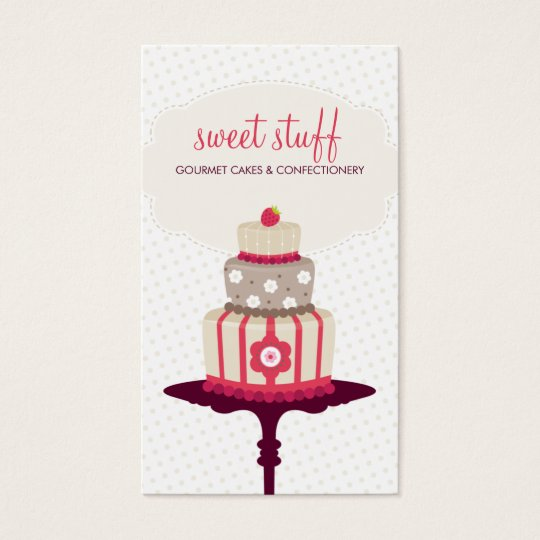 CUTE BUSINESS CARD sweet cake bakery red gold