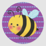 Cute Busy Bumble Bee Round Stickers