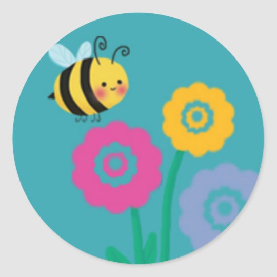 Cute Busy Honey Bee Classic Round Sticker