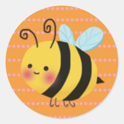Cute Busy Honey Bee Round Sticker