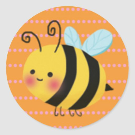 Cute Busy Honey Bee Round Stickers