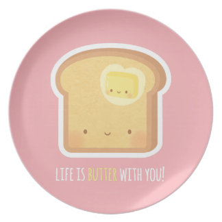Cute Butter and Toast Better Together Couple Plate