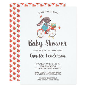 Bicycle baby shower invitations zazzle uk cute butterflies and bunny on bicycle baby shower invitation filmwisefo