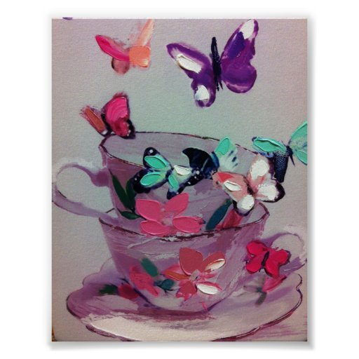 Cute butterflies and cups ,Matte Poster .