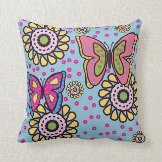 Cute Butterfly and Flower American MoJo Pillows Throw Pillows