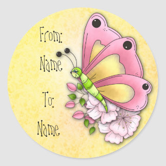 Cute butterfly and flowers sticker