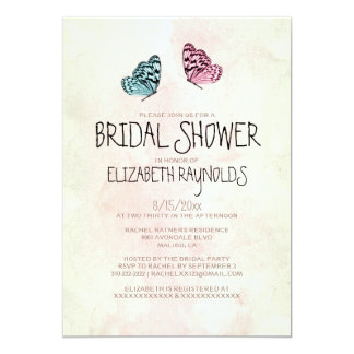 Cute Butterfly Bridal Shower Invitations
