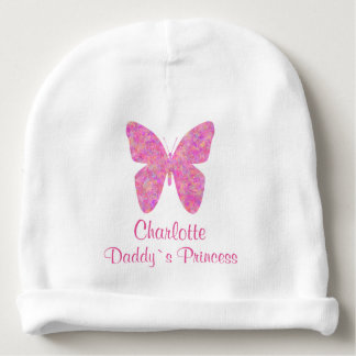 Cute Butterfly Daddy`s Princess Personalized Name Baby Beanie