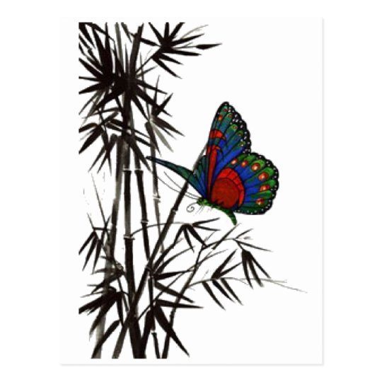 cute butterfly in bamboo postcard
