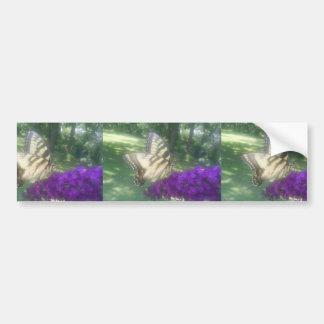 Cute Butterfly On Purple Flower Bumper Sticker