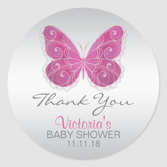 Cute Butterfly Pink Baby Shower Labels Stickers