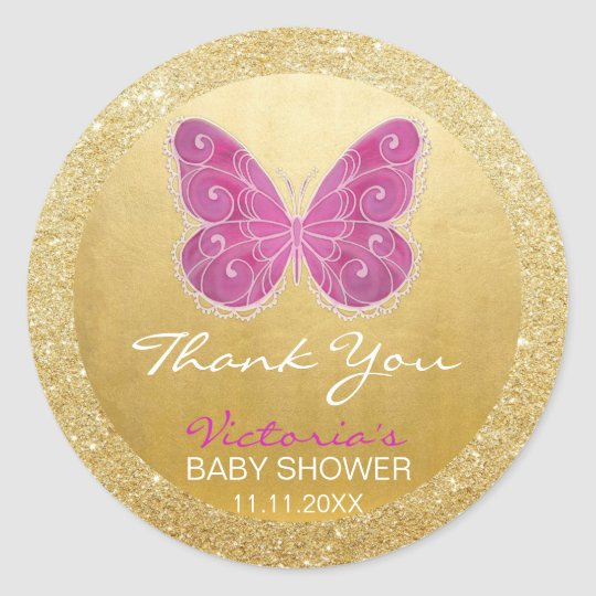 Cute Butterfly Pink Gold Glitter Baby Shower Classic