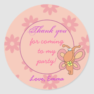 Cute Butterfly Thank You Birthday Stickers