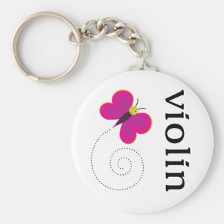Cute Butterfly Violin Basic Round Button Key Ring