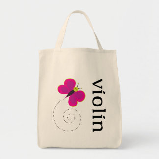 Cute Butterfly Violin Tote Bag