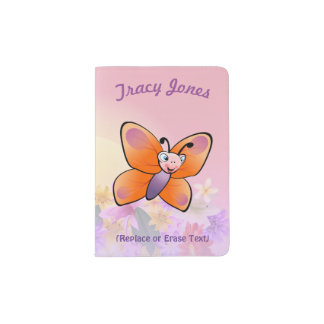 Cute Butterfly With Colorful Flowers Passport Holder