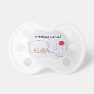 cute button eyed kitten and cupcake baby pacifier