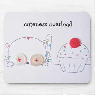 cute button eyed kitten and cupcake mouse pad
