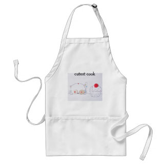 cute button eyed kitten and cupcake standard apron